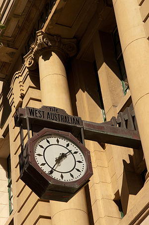 The West Australian - Clock on the former premises, Newspaper House, St Georges Terrace