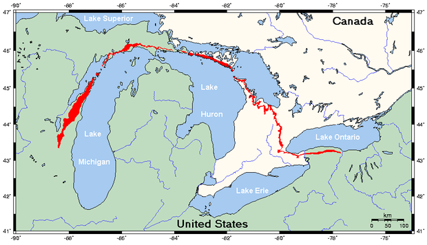 Niagara Escarpment (in red) Niagara Escarpment map.png