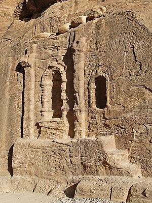A niche near the entrance of al-Siq, Petra, Jo...