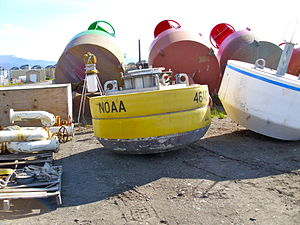Weather buoy - NOAA buoy in storage, Homer, Alaska