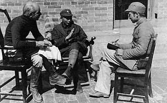 Norman Bethune - Norman Bethune in China with Nie Rongzhen (centre) and an interpreter, 1938.