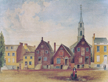 A watercolor painting of brown and yellow row houses in front of a dirt road, two of which have classic Dutch stepped gables; a white church spire is seen in the background.