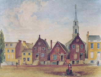 North Pearl Street from Maiden Lane North by James Eights, circa 1805 North Pearl Street Albany 1800s.png