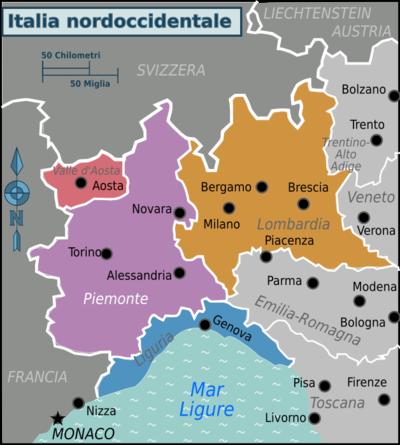 Cartina Italia Occidentale.Italia Nordoccidentale Wikivoyage Guida Turistica Di Viaggio
