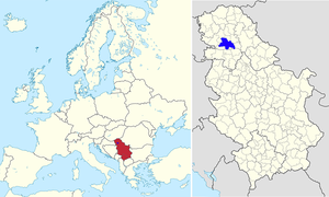 Location of Novi Sad in Serbia and Europe