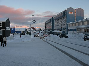 Aqqusinersuaq - Aqqusinersuaq with Hotel Hans Egede visible on the right