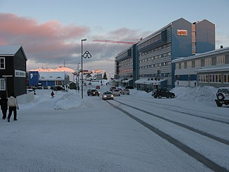 Nuuk, the capital city of Greenland Nuuk main road.JPG