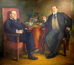 O.S. Tseytlin with D.V. Vysotsky at coffee by Leonid Pasternak (1913, Kursk gallery).jpg