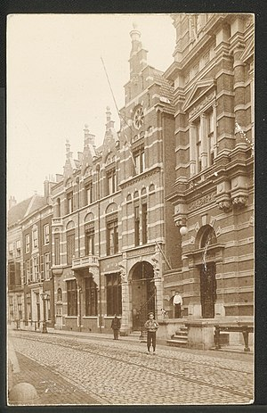 Post office - A post office in the Netherlands (Leiden, 1860)