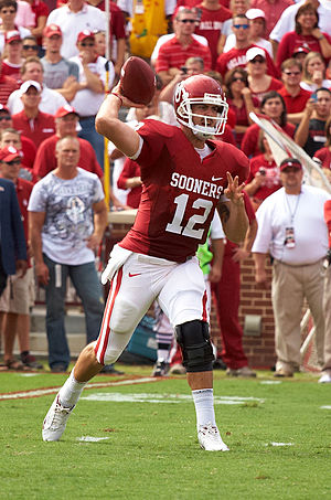 Landry Jones - Jones winding up to pass in a game against Tulsa in 2009