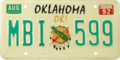 Oklahoma license plate, 1989–1994 series with August 1992 sticker.png