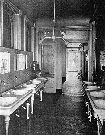 This hospital lavatory could be lit by a dual gas and electric fixture (New Orleans, 1906) OldCharityHospitalSurgeonsLavatory1906.jpg