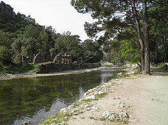 Olympos (Lycia) - The ruins of the bathhouse are seen on the other side of the river