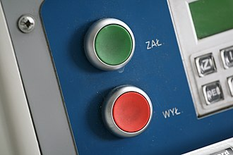 Idempotence - On/off buttons of a Polish desk calculator. Pressing the On button (green) is an idempotent operation, since it has the same effect whether done once or multiple times.