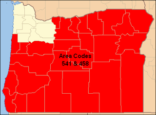 Area codes 541 and 458 Area codes for most of Oregon, United States
