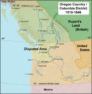 Map of Oregon in dispute. Resolved by the Oregon Treaty.
