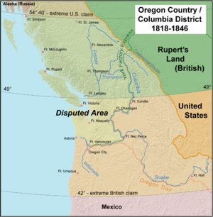 Oregon boundary dispute - The Oregon Country/Columbia District stretched from 42°N to 54°40′N. The most heavily disputed portion is highlighted.