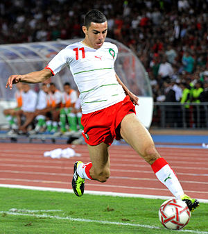 Oussama Assaidi - Assaidi playing for Morocco against Algeria in 2011.
