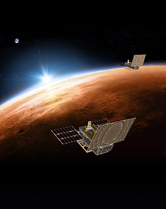 Flyby (spaceflight) - Illustration of the MarCO 6U cubesat relay flyby probe and technology demonstrators for the Mars InSight lander; the flyby provided bent pipe communication support during the landing in 2018