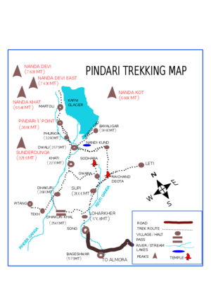 Pindari Glacier - Pindari and Kafni glacier trek Route Map