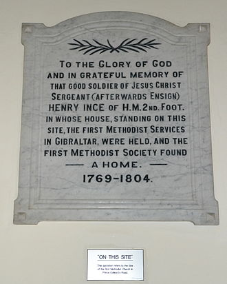 Henry Ince - Memorial plaque to Henry Ince at the Gibraltar Methodist Church