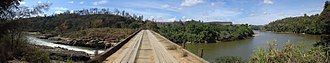 Doce River - Panorama of the Queimada Bridge over the Doce River, Doce River State Park, Bom Jesus do Galho