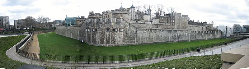 The Tower of London's outer curtain wall, with the curtain wall of the inner ward just visible behind. In the centre is Legge's Mount.