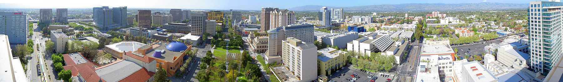 Overhead panorama of downtown San Jose.