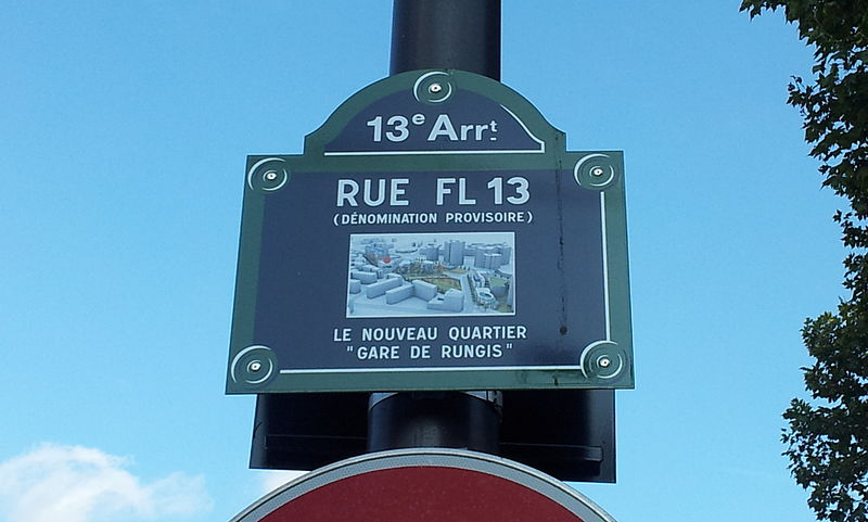 Fichier:Paris 13e - Rue FL 13 (dénomination provisoire) - plaque.jpg