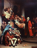 "Patrick Henry delivering his, ""Liberty or Death,"" speech at St. John's Church in Richmond, helping to ignite the American Revolution."