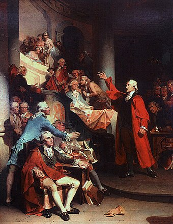 1851 painting of Patrick Henry's speech before the House of Burgesses on the Virginia Resolves against the Stamp Act of 1765 Patrick Henry Rothermel.jpg