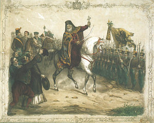 Serbian Vojvodina - Serbian patriarch Josif Rajačić is giving a blessing to the army of Serbian Vojvodina in 1848