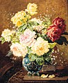 Paul Biva, Roses in a vase with a silver casket on a ledge, oil on canvas, 55.3 X 46.3 cm.jpg