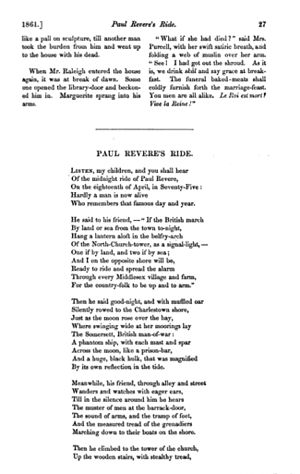 "Paul Revere's Ride - ""Paul Revere's Ride"" was first published in The Atlantic Monthly in 1861."