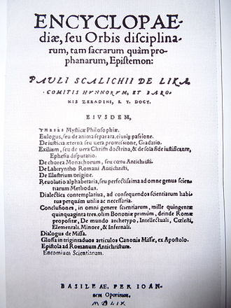 Encyclopedia - Title page of Skalich's Encyclopaedia, seu orbis disciplinarum, tam sacrarum quam prophanarum, epistemon from 1559, first clear use of the word encyclopaedia in the title.