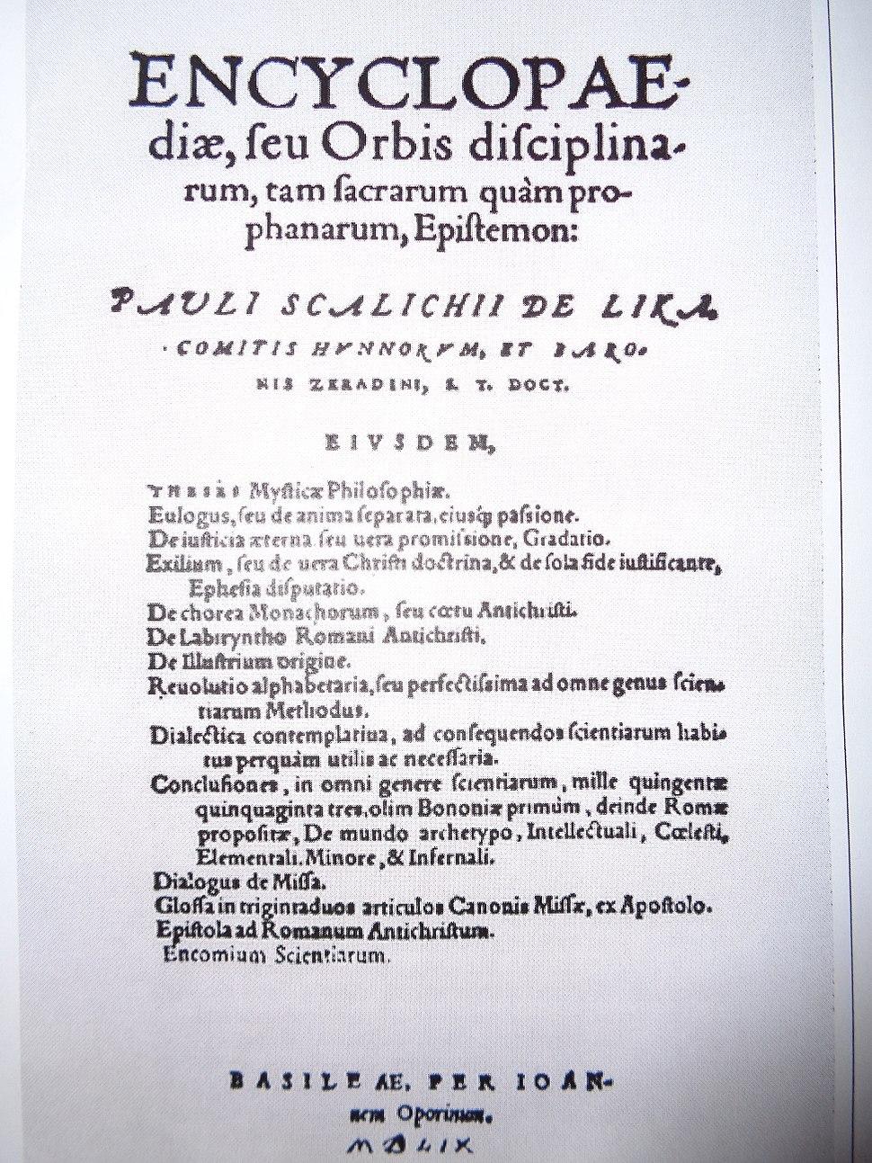 Pavao Skalić; Enciklopedija ili znanje svijeta svetih i svjetovnih struka (1559)