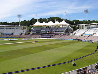Rose Bowl (cricket ground) - The pavilion flanked by the Colin Ingleby-MacKenzie and Shane Warne Stands