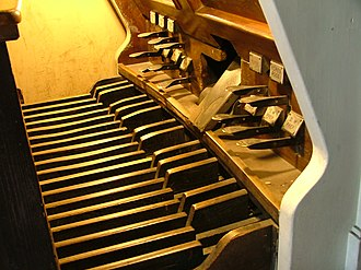 Pedal keyboard - The 30-note pedalboard of a Rieger organ.