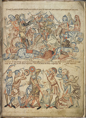 Peers and commoners fighting - The Holkham Bible Picture Book (c.1320-1330), f.40 - BL Add MS 47682.jpg