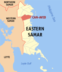 Map of Eastern Samar with Can-avid highlighted
