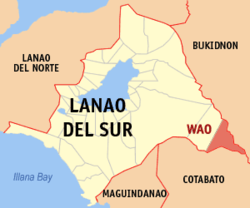 Map of Lanao del Sur with Wao highlighted