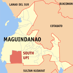 Map of Maguindanao with South Upi highlighted