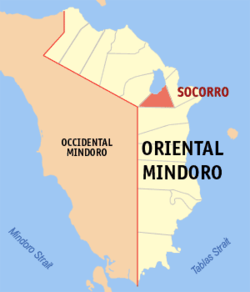 Map of Oriental Mindoro with location of Socorro