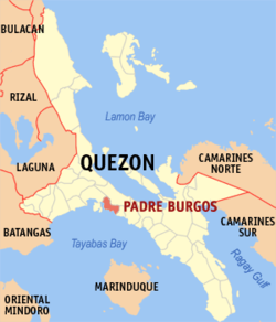 Map of Quezon showing the location of Padre Burgos