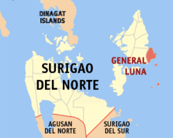 Map of Surigao del Norte with General Luna highlighted