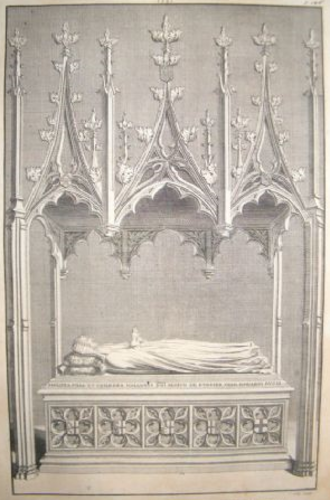 Philippa de Mohun - 1723 engraving of monument to Philippa de Mohun (d.1431), Duchess of York, in Westminster Abbey. The wooden canopy is now missing. Published in Dart, John, Westmonasterium, or, The History and Antiquities of the Abbey Church of St Peter, Westminster, London, 1723