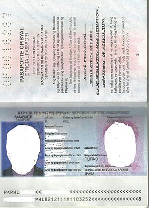 Philippine passport - Philippine Official (Red) passport inside page 2-3