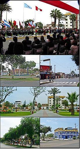 From top and left to right: Civic Ceremony in the Main Square of Vista Alegre, Manuel Seoane avenue, View of Vista Alegre from Larco Avenue, Vista Alegre Hospital, Huaman avenue, Tercer Milenio High School