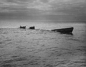 German submarine U-175 - A Coast Guard row boat picking survivors up from U-175
