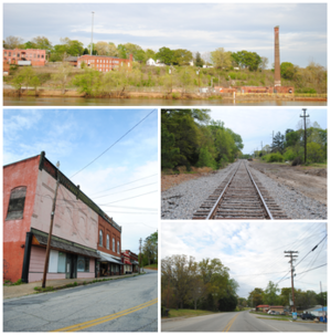 Piedmont, South Carolina - Top, left to right: Ruins of the Piedmont Number One overlooking the Saluda River, Main Street, Railroad, Piedmont Highway
